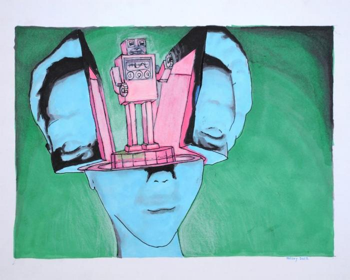 """Brainbot"" by M. Lawrence McCoy. Ink, pencil, and marker. 2012"
